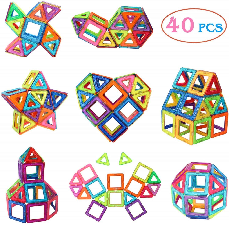 Manve Magnetic Tiles Building Blocks Toys, 40 Pcs Preschool Kids Educational Construction Toys Sets by Manve
