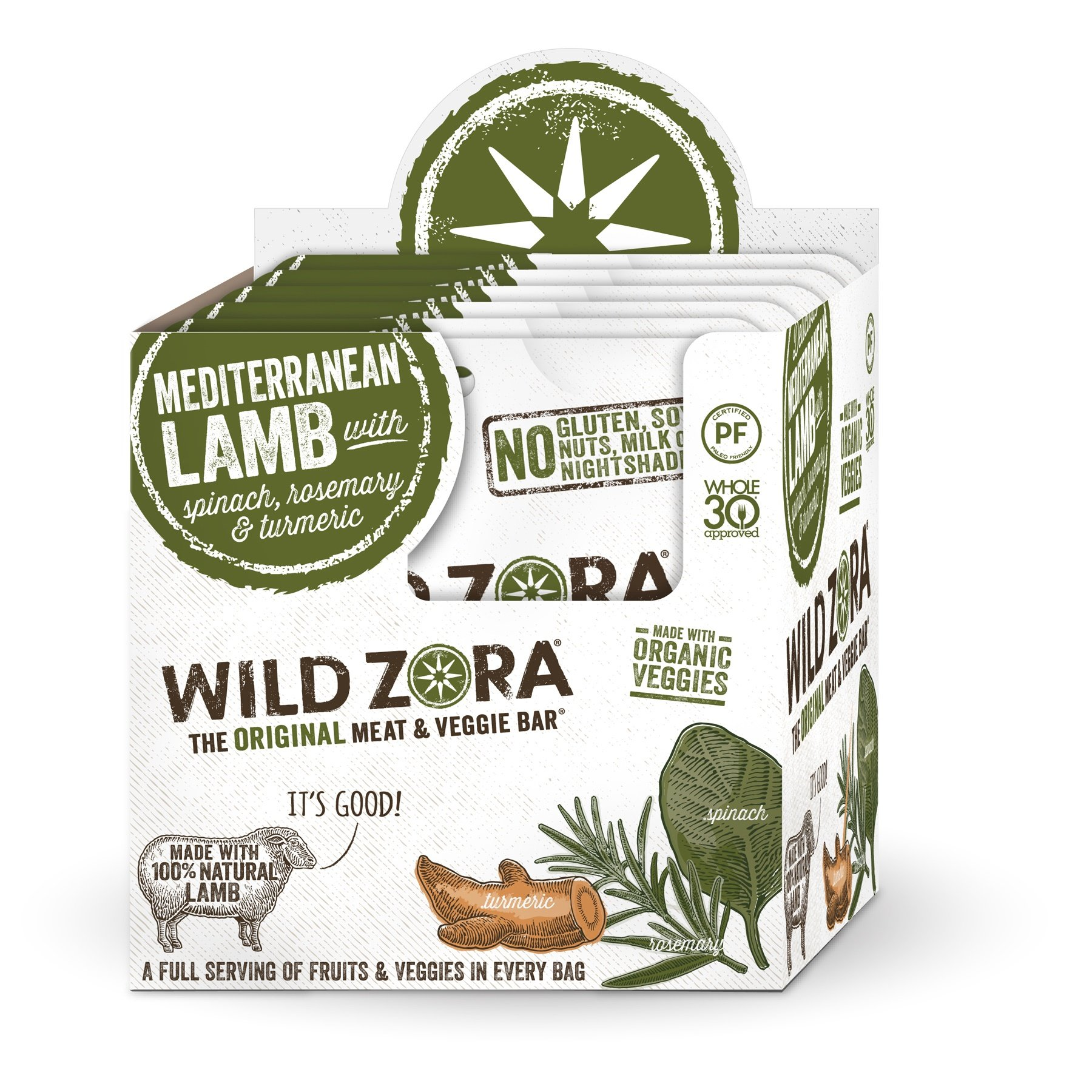Mediterranean Lamb - Meat and Veggie Bars (10-pack) are the perfect AIP snack. They contain no nightshades and are grain-free, dairy-free and Paleo Certified. They contain no tree nuts or any other.