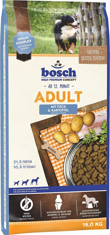 bosch HPC Adult | con Pescado y Patata | Comida seca completa para perros adultos de todas las razas | 15 kg