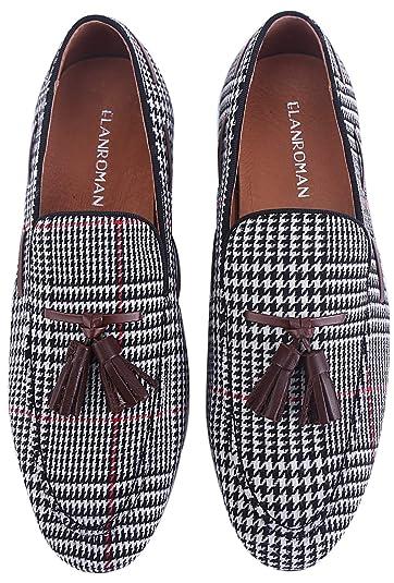 c20a5aa68ceb8 Amazon.com   ELANROMAN Men Loafers Velvet Dress Shoes Hip-hop Fashion Grid  Pattern with Tassels Handmade Noble Smoking Slipper Slip-on Party Glitter  Wedding ...