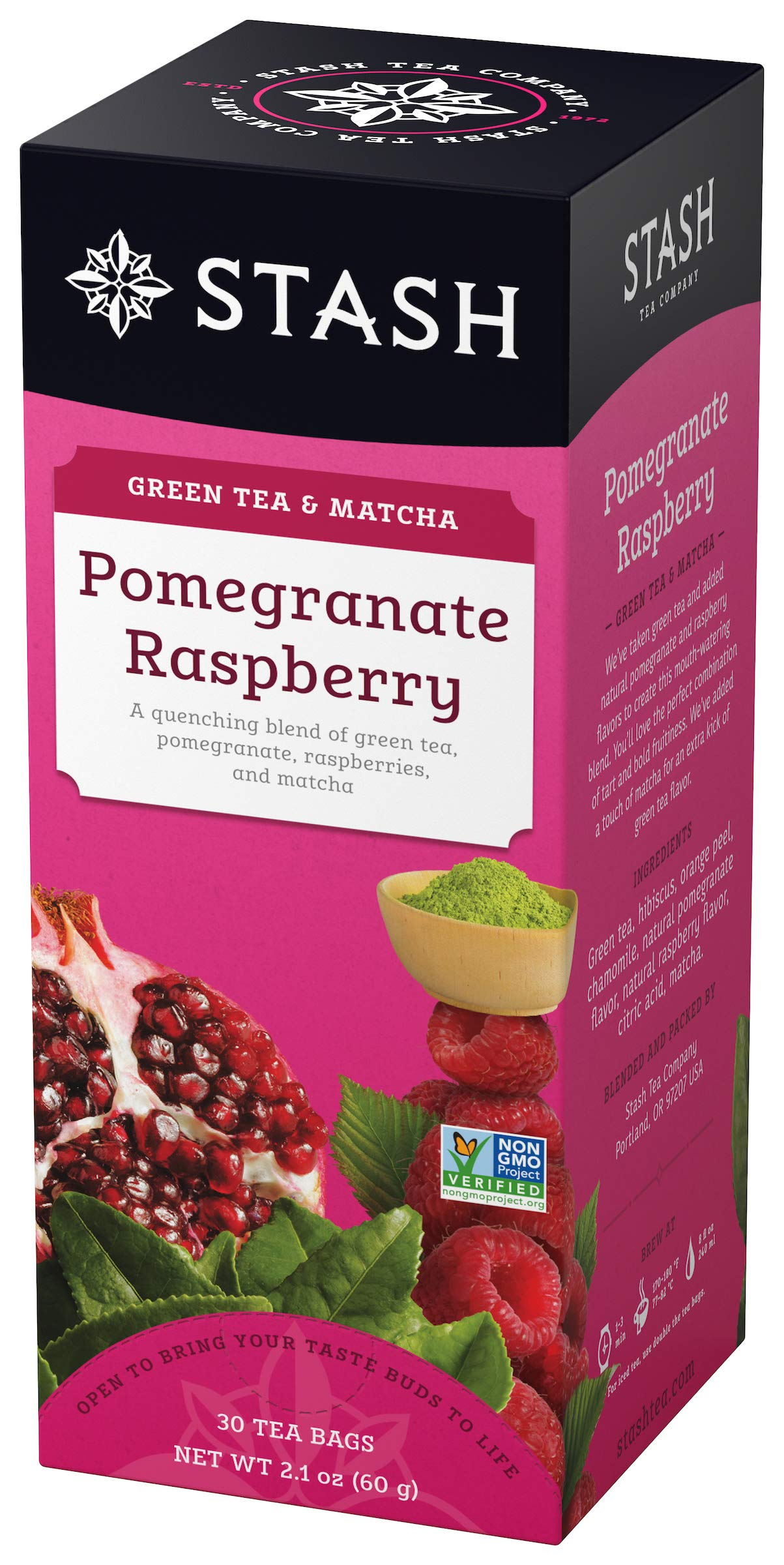 Stash Tea Pomegranate Raspberry Green Tea 30 Count Tea Bags in Foil (Pack of 6) Individual Green Tea Bags for Use in Teapots Mugs or Teacups, Brew Hot Tea or Iced Tea