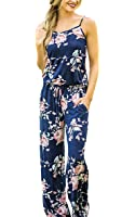 ECOWISH Womens Summer Floral Printed Halter Sleeveless Casual Strap Jumpsuit