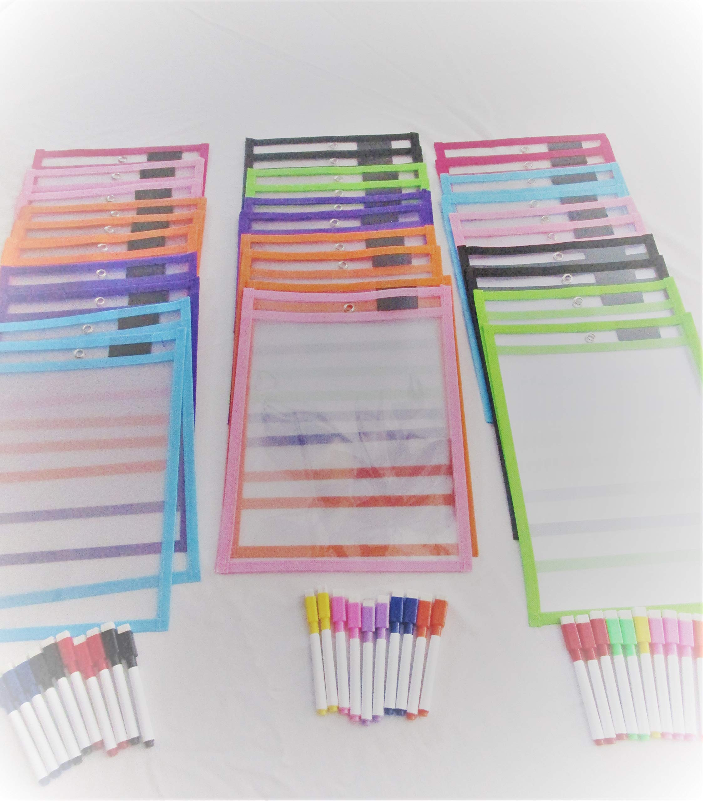 Reusable Dry-Erase pockets 25 pack with 25 Erasable Markers (30)