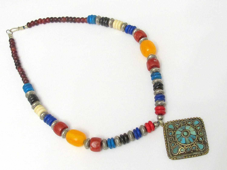 Tibetan Bead Earrings Tibetan Inlaid Bead Earrings Ethnic Nepal Earrings Inlaid Beaded Jewelry Nepal Style Earrings