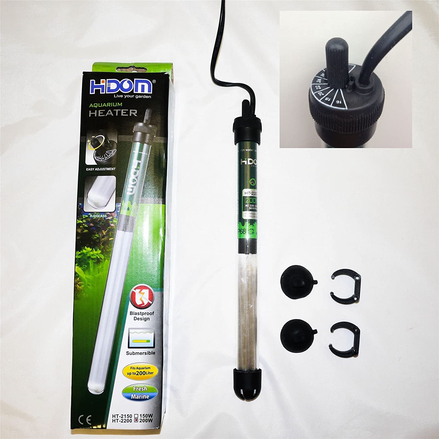 Hidom HT 2050 Submersible Blastproof Aquarium Heater 50w with FREE