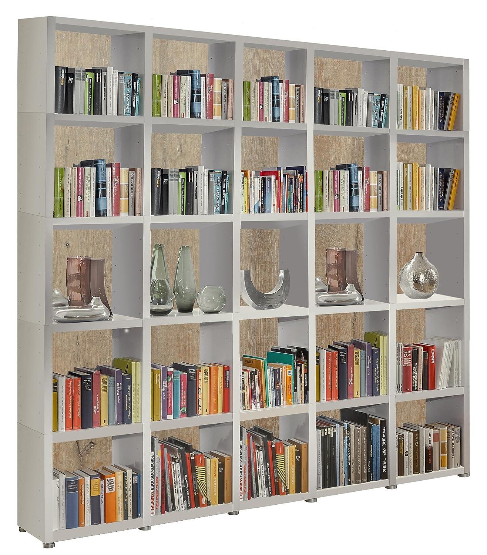 Bücherregal Raumteiler READY 55R in Weiß Seidenmatt mit Rückwand in ...