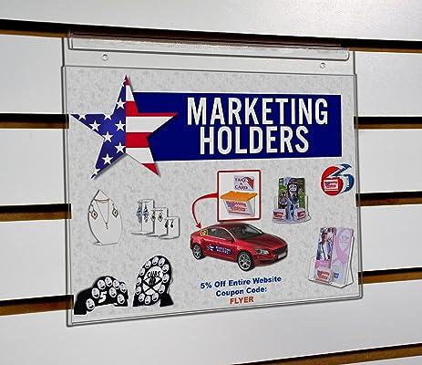 amazon com marketing holders 11 w x 8 5 h slatwall clear wall
