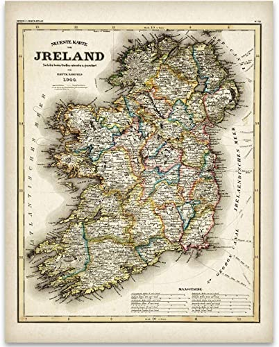 Map Of Ireland Print.Amazon Com 1844 Ireland Map 11x14 Unframed Art Print Great