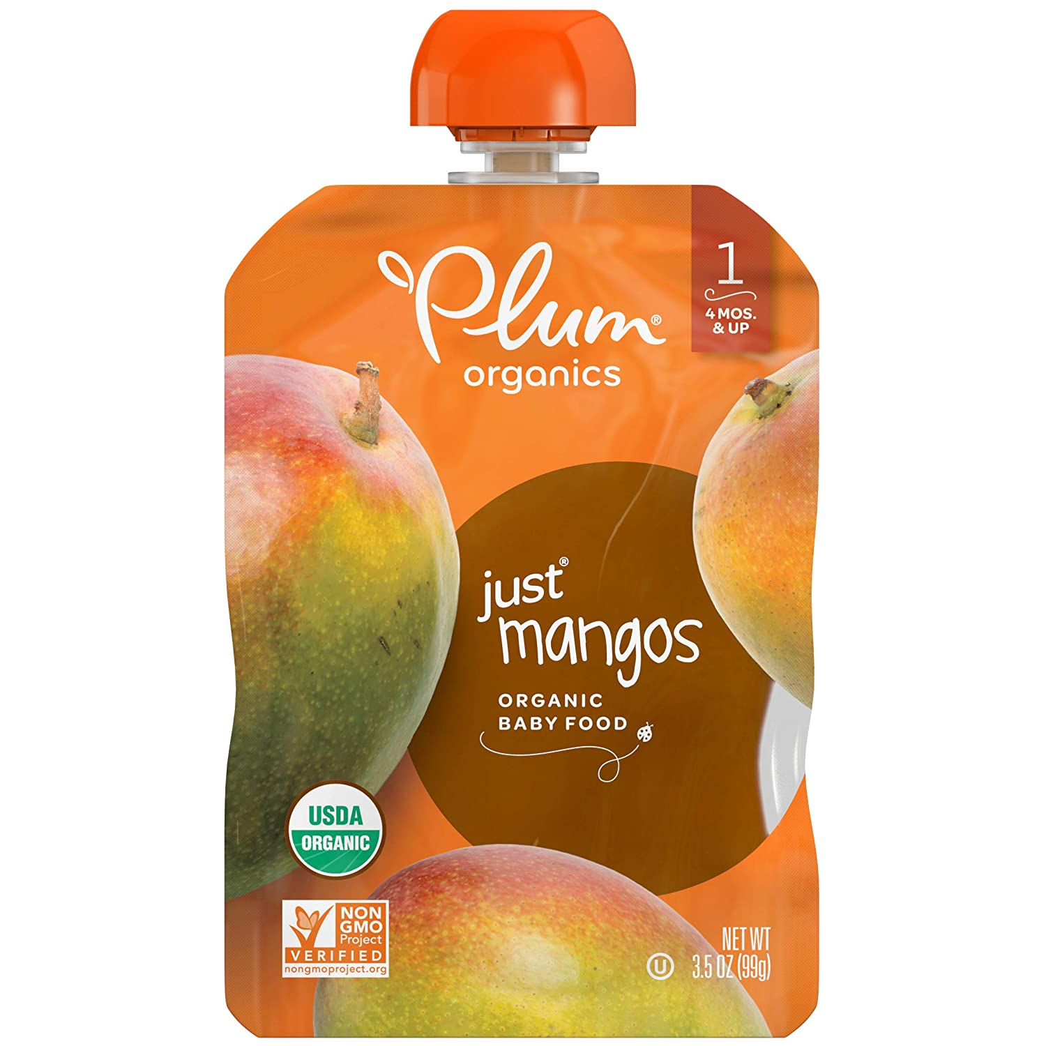Plum Organics Stage 1 Organic Baby Food, Mango Puree, 3.5 Ounce Pouch, Pack of 6