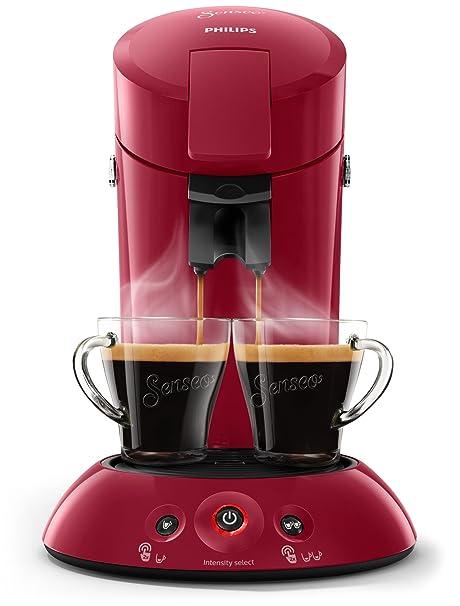 Philips Cafetera Senseo New Original, Elección de crema Plus, grosor de café, color negro rojo oscuro