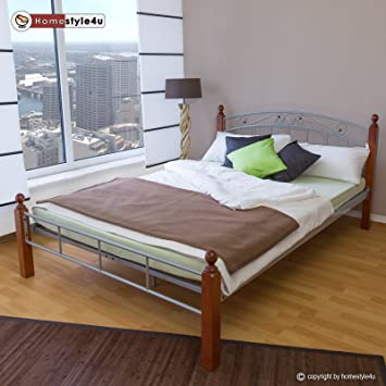 Metallbett 140x200 silber  Homestyle4u Metallbett Bett Doppelbett 140 x 200 + Lattenrost ...