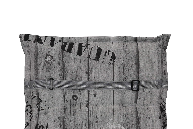 Herlag Florence Multicolore 100/% Poliuretano espanso Cuscino Imbottito per Sedia da Giardino Colore: Grigio//Giallo a Righe con Schienale Alto