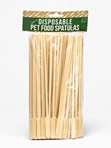 Birdie Lee's Pet Food Spatulas, Animal Feeding Biodegradable Bamboo Spoons, Planet Friendly Pet Food Servers, Wet Cat and Dog food Spatulas, Compostable