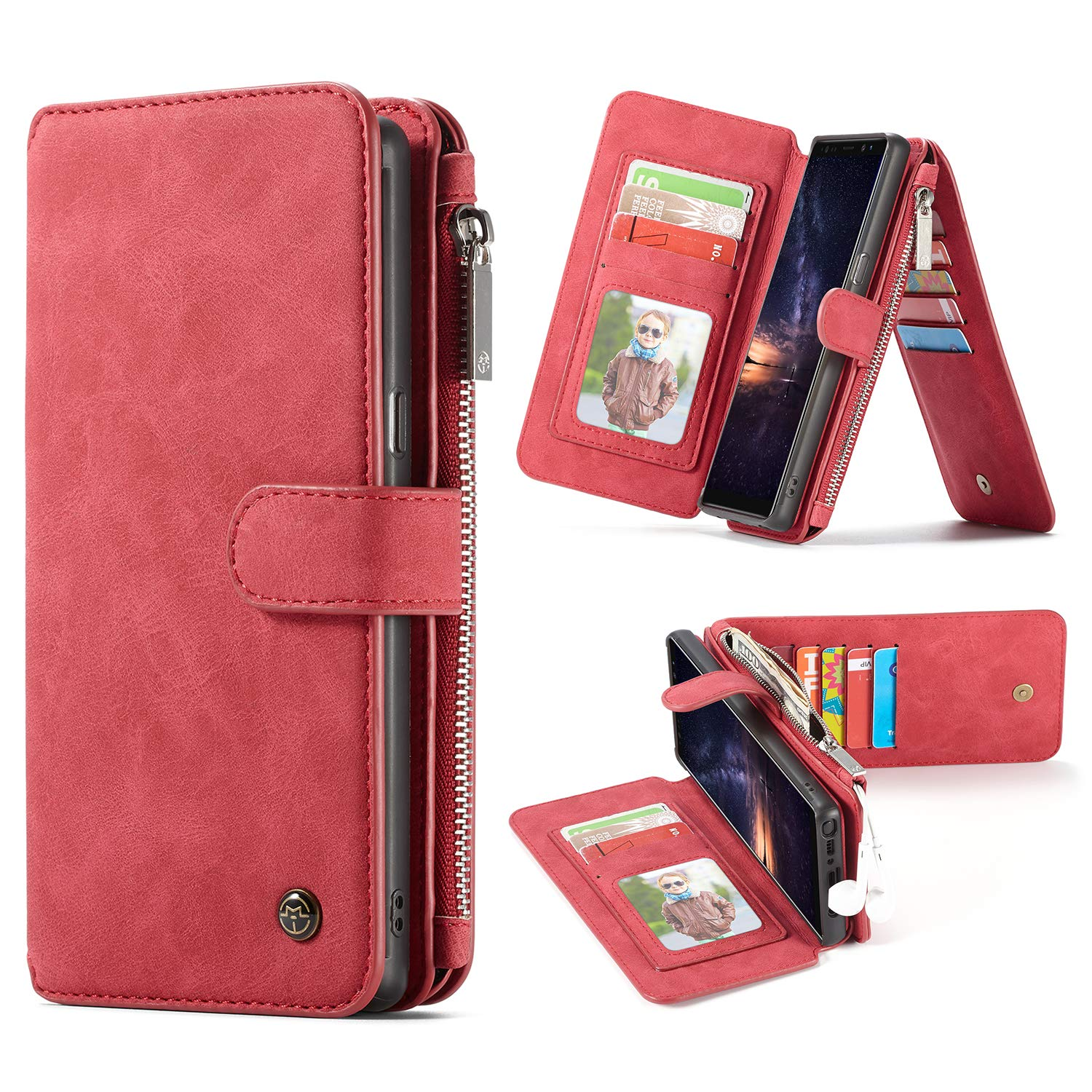hot sale online 0a317 8b29a Amazon.com: Samsung Galaxy Note 9 Wallet Case, Edauto 2 in 1 Leather ...