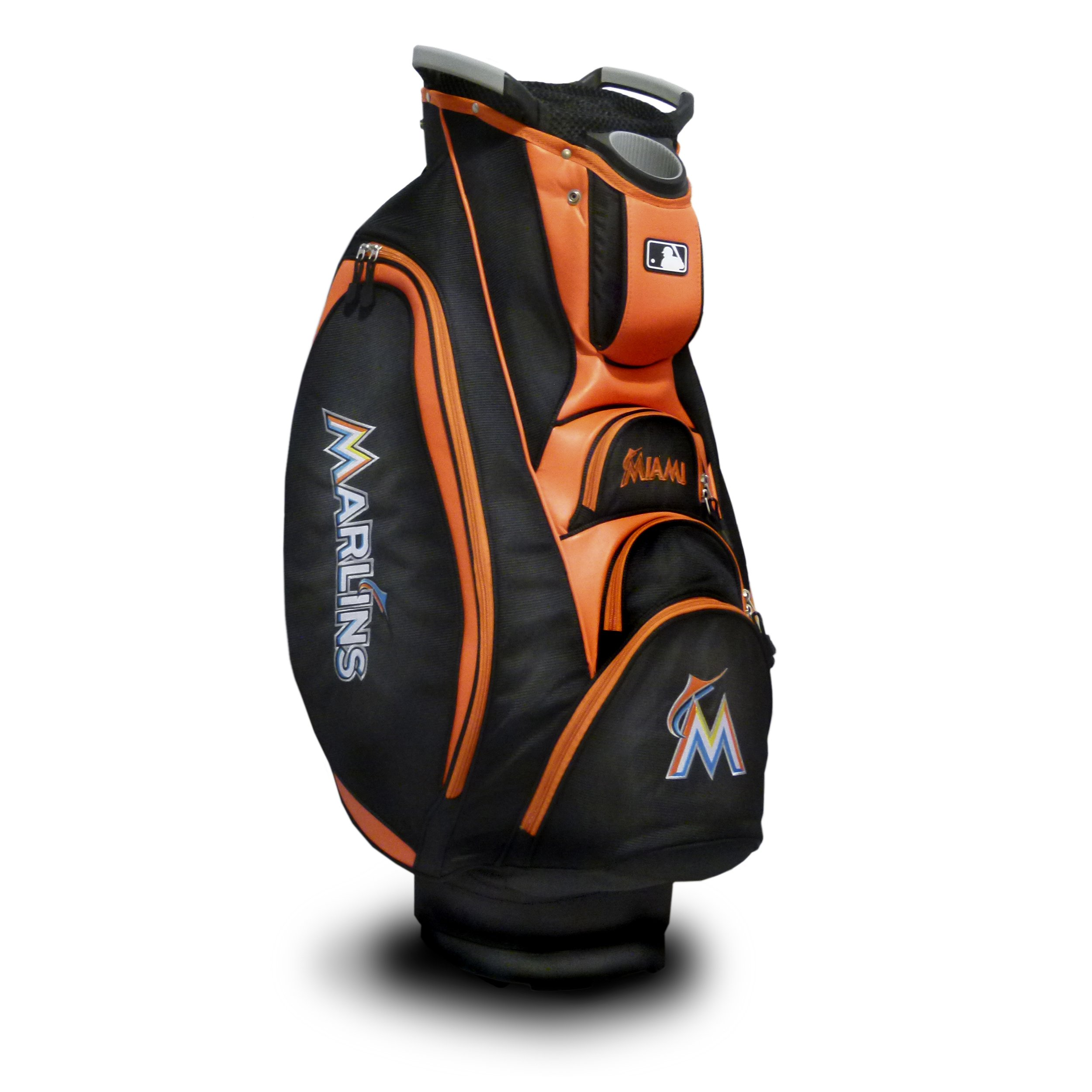 Team Golf MLB Miami Marlins Victory Golf Cart Bag, 10-way Top with Integrated Dual Handle & External Putter Well, Cooler Pocket, Padded Strap, Umbrella Holder & Removable Rain Hood