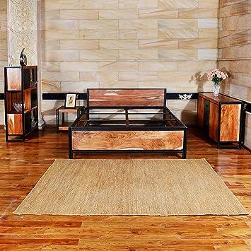 Holzbett HORNET Aus Nachhaltigem Sheesham Massivholz Naturholz Doppelbett  Für Das Schlafzimmer Bettrahmen Aus Pulverbeschichtetem Metall Handgefertigt