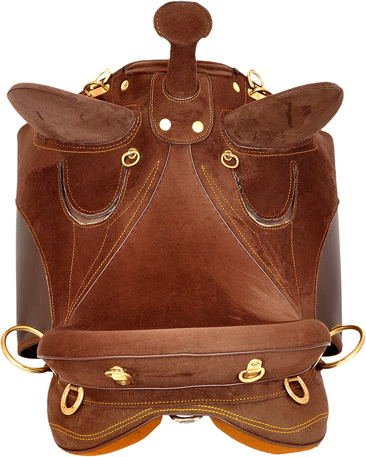 Manaal Enterprises Synthetic Suede Australian Stock English Horse Saddle Get Stirrup Matching Girth Size 15 Inch Seat Available