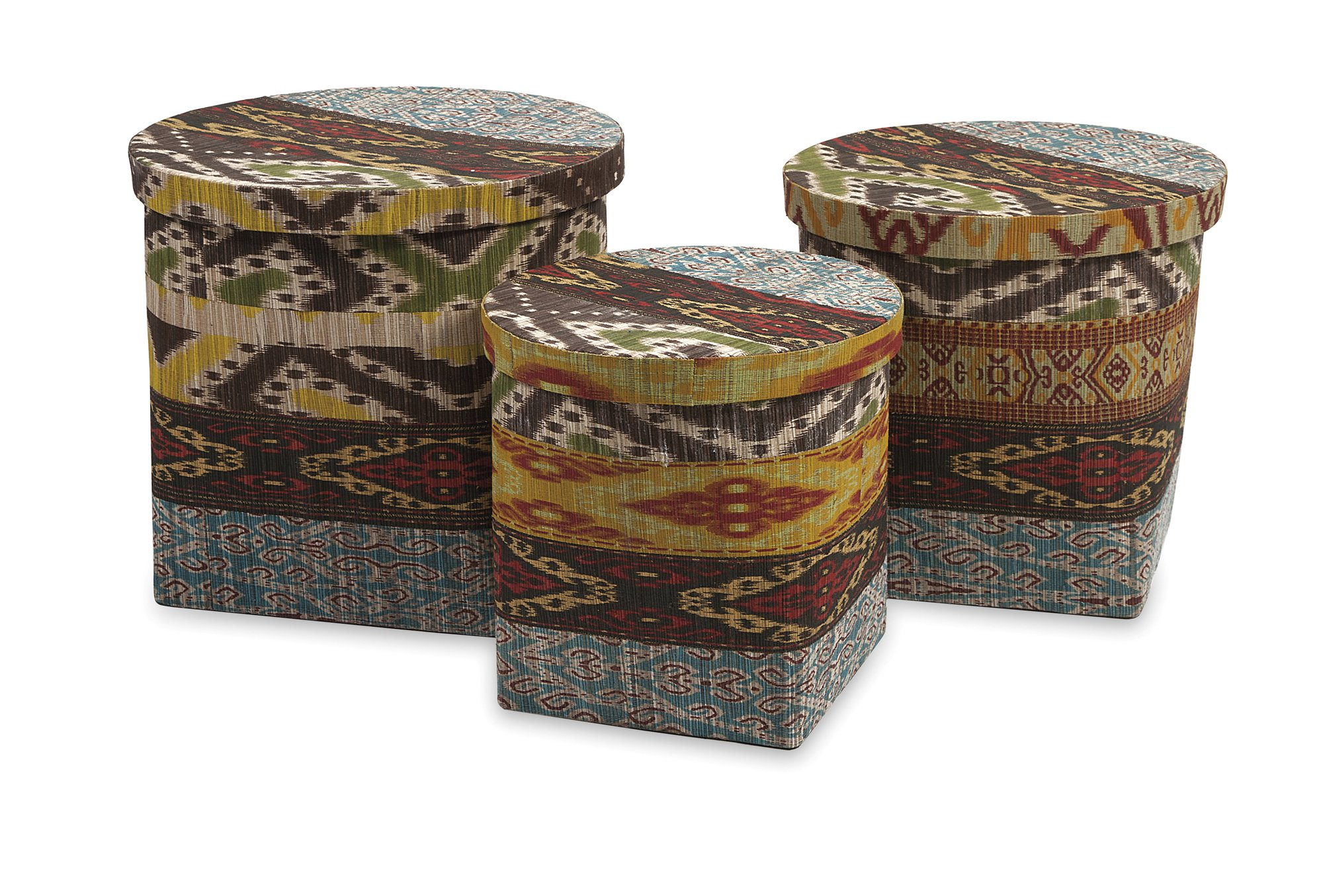 IMAX 89868-3 Tymon Water hyacinth Baskets with Lids, 3-Pack