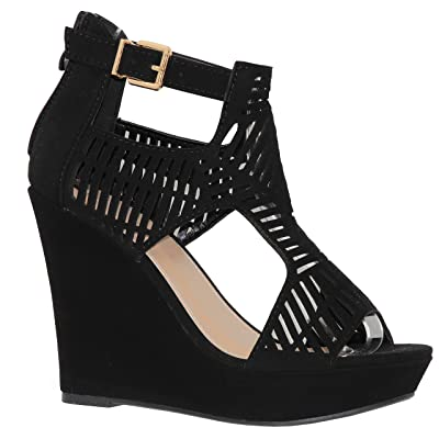 MVE Shoes Women's Open Toe Cutout Platform Sandal - Back Zipper Ankle Strap Summer Sandal   Sandals