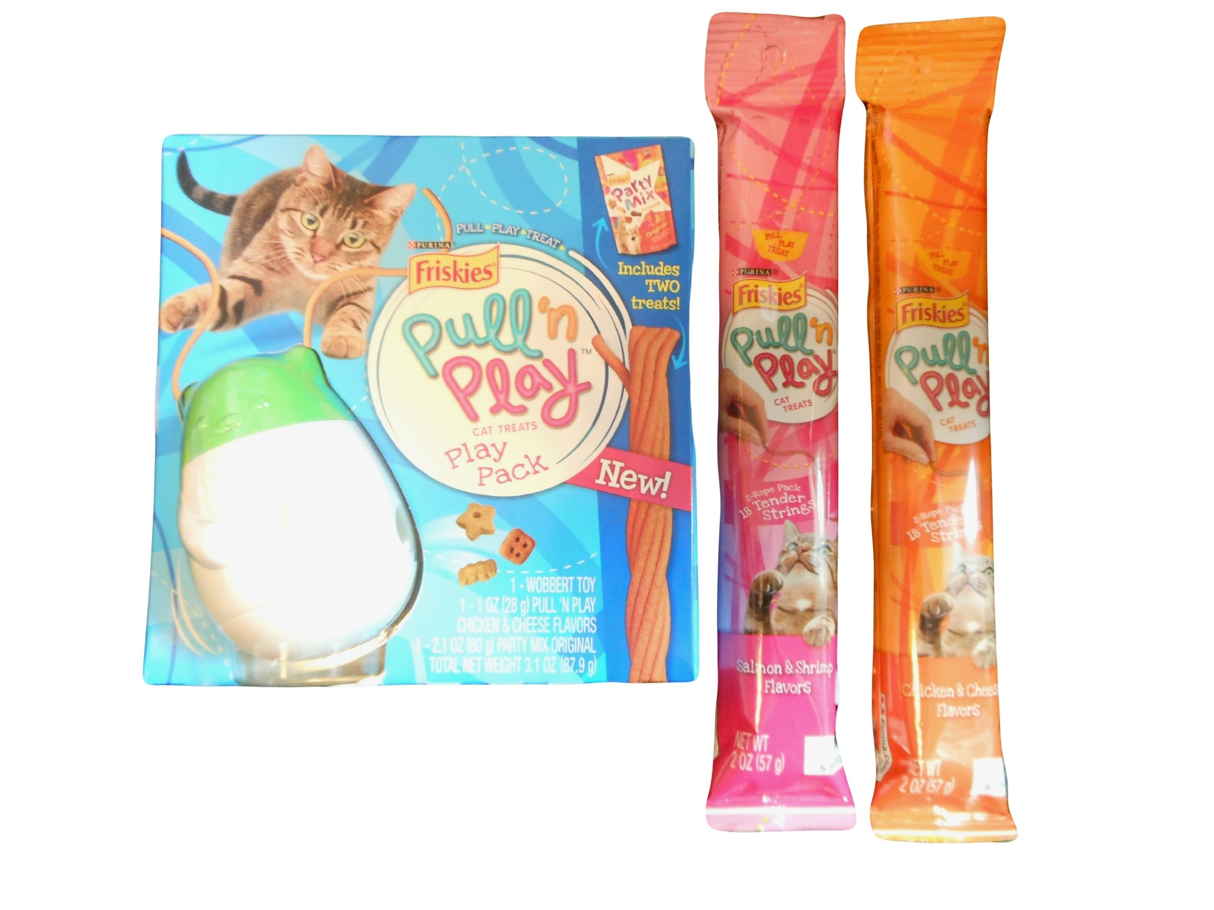 Pull N Play Cat Treat Bundle Comes with 3 Pullnplay string treats and 1 Friskie Party Mix