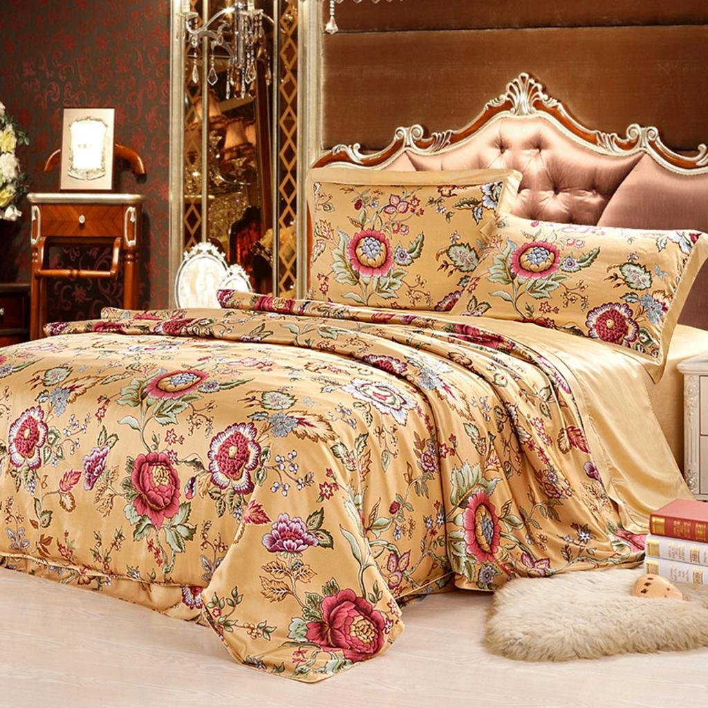 GOUGOU European style Silk Home Textiles Four sets 100% Mulberry silk 1.8 m bed 2.0 m beds Bed Supplies , gold , 2.0mm