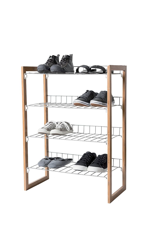 Compactor - Scarpiera in metallo e legno di albero della gomma, per 12 paia di scarpa, 4 livelli, colore naturale/grigio C.I.E. Europe B00G69LGTS RAN6030