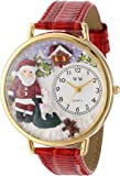 Whimsical Watches Women's G1220009 Christmas Santa Claus Red Leather Watch