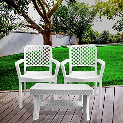Italica Furniture - Armchair and Table Combo - Indoor and Outdoor Furniture Set(3018 & 9503, White, Set of 2 Chairs)