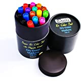 Brilli Dry Erase Markers (Bullet Tip) + FREE MAGNETIC ERASER – Set of 16 x Premium Eco Whiteboard Pens - Assorted Colors - EXTRA Black, Blue & Red – Non-Toxic & Low Odor OFFICE CLASS TEACHERS