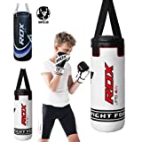 RDX Kids Punching Bag Heavy Boxing 2FT UNFILLED MMA Punching Training Gloves Kickboxing (Color: White, Tamaño: One Size)