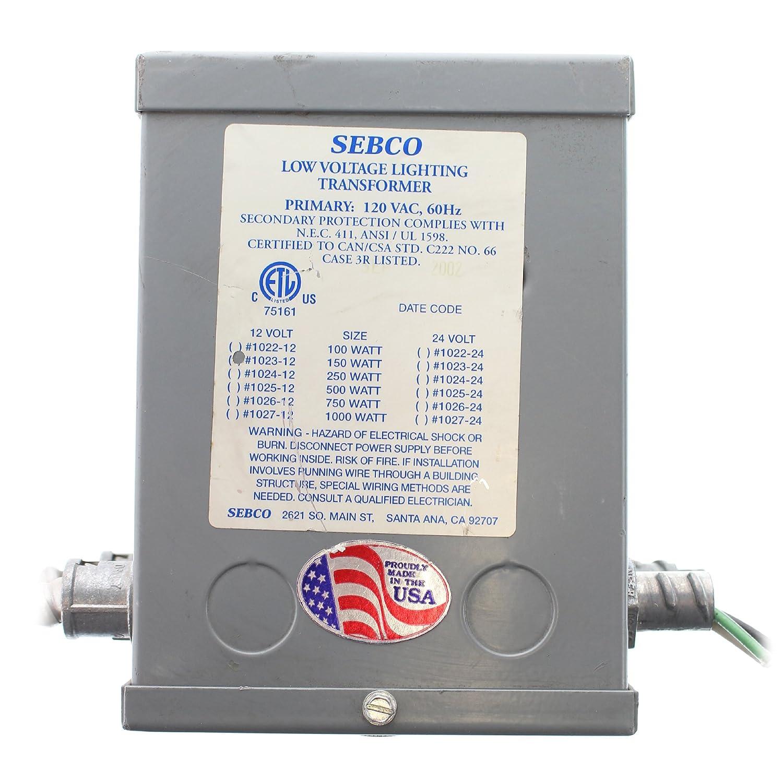 Sebco 1023-12 Low Voltage Lighting Transformer, 120V Input, 12VAC ...