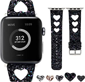 Moonooda Glitter Watch Band Compatible with Apple Watch 38mm 40mm 42mm 44mm, Women Heart Shape Hollow Wristband Replacement for iWatch , Bling sparkle Strap Compatible with Series SE 6 5 4 3 2 1