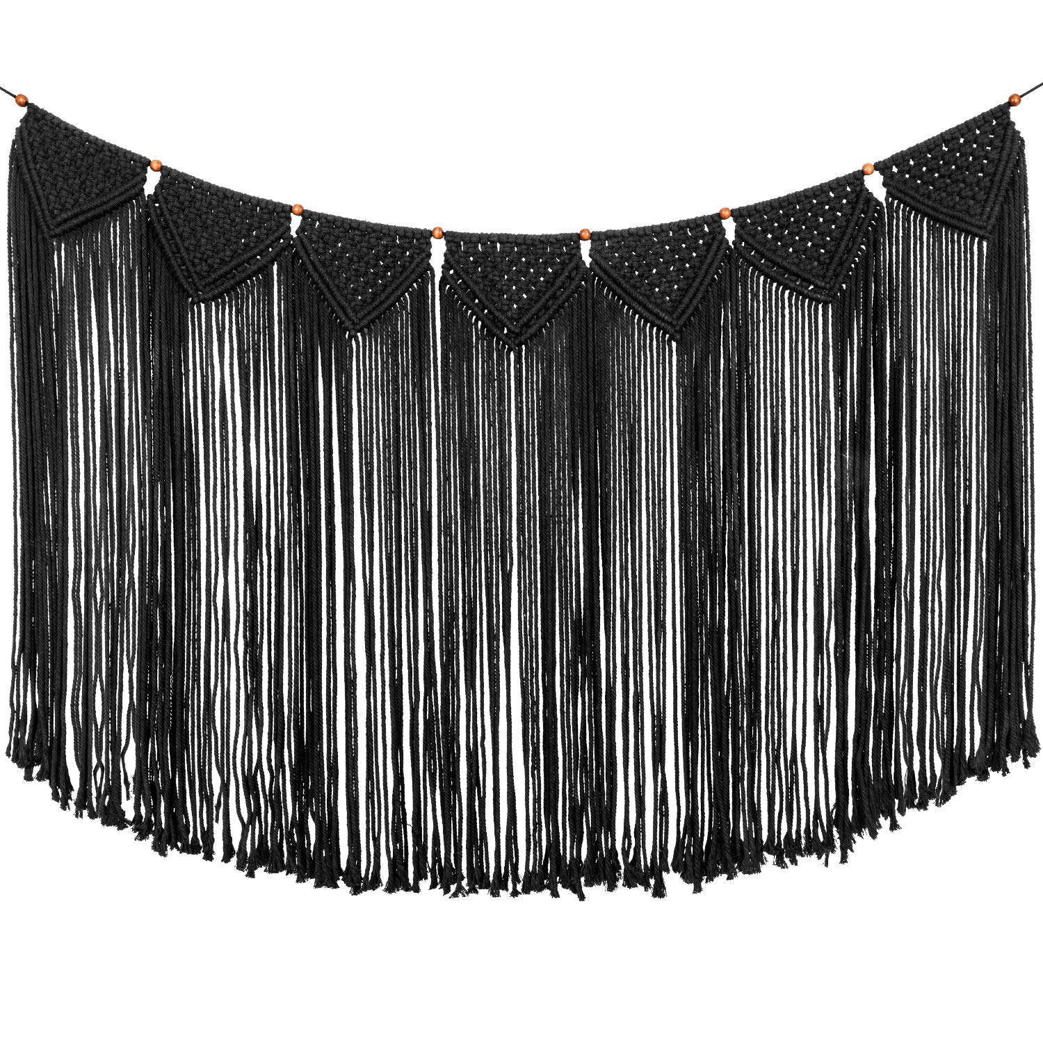 """TIMEYARD Macrame Woven Wall Hanging Curtain Fringe Garland Banner - Boho Shabby Gothic Wall Decor - Apartment Dorm Living Room Bedroom Baby Nursery Art - Party Backdrop Decoration 47"""" L x 28"""" W"""