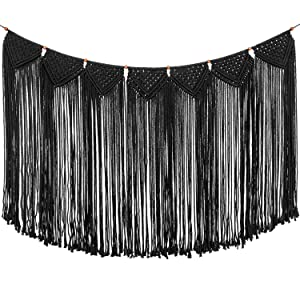 "TIMEYARD Macrame Woven Wall Hanging Curtain Fringe Garland Banner - Boho Shabby Gothic Wall Decor - Apartment Dorm Living Room Bedroom Baby Nursery Art - Party Backdrop Decoration 47"" L x 28"" W"