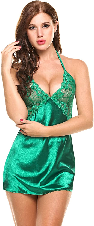 Zeela Ropa de Dormir para Elegante Mujer Lencería Satén Camisón Pijama Ropa de Dormir Simple