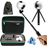 EEEKit All in 1 Kit for Samsung Gear 360 (2016) Real 360 VR Camera MS-C200, Shockproof Accessories Carrying Case, Selfie Stick Monopod, Mini Tripod Stand