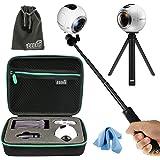 eeekit tutto in 1 kit per Samsung Gear sferico a 360 °, antiurto Custodia protettiva per fotocamera, Selfie Stick monopiede mini treppiede [Classe di efficienza energetica A]