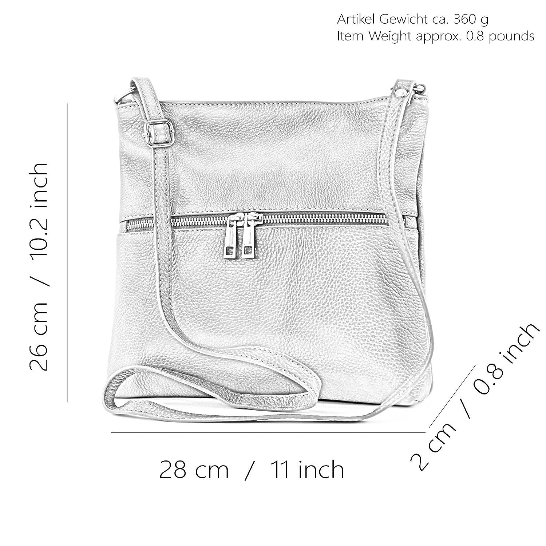 modamoda de – T144 – ital hänge/axelväska av läder Vit/kamel