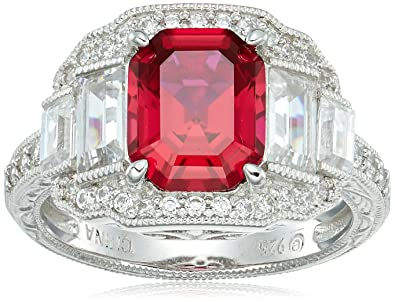 6d09e6a12d231 Amazon.com: Platinum Plated Sterling Silver Created Ruby Baguette ...