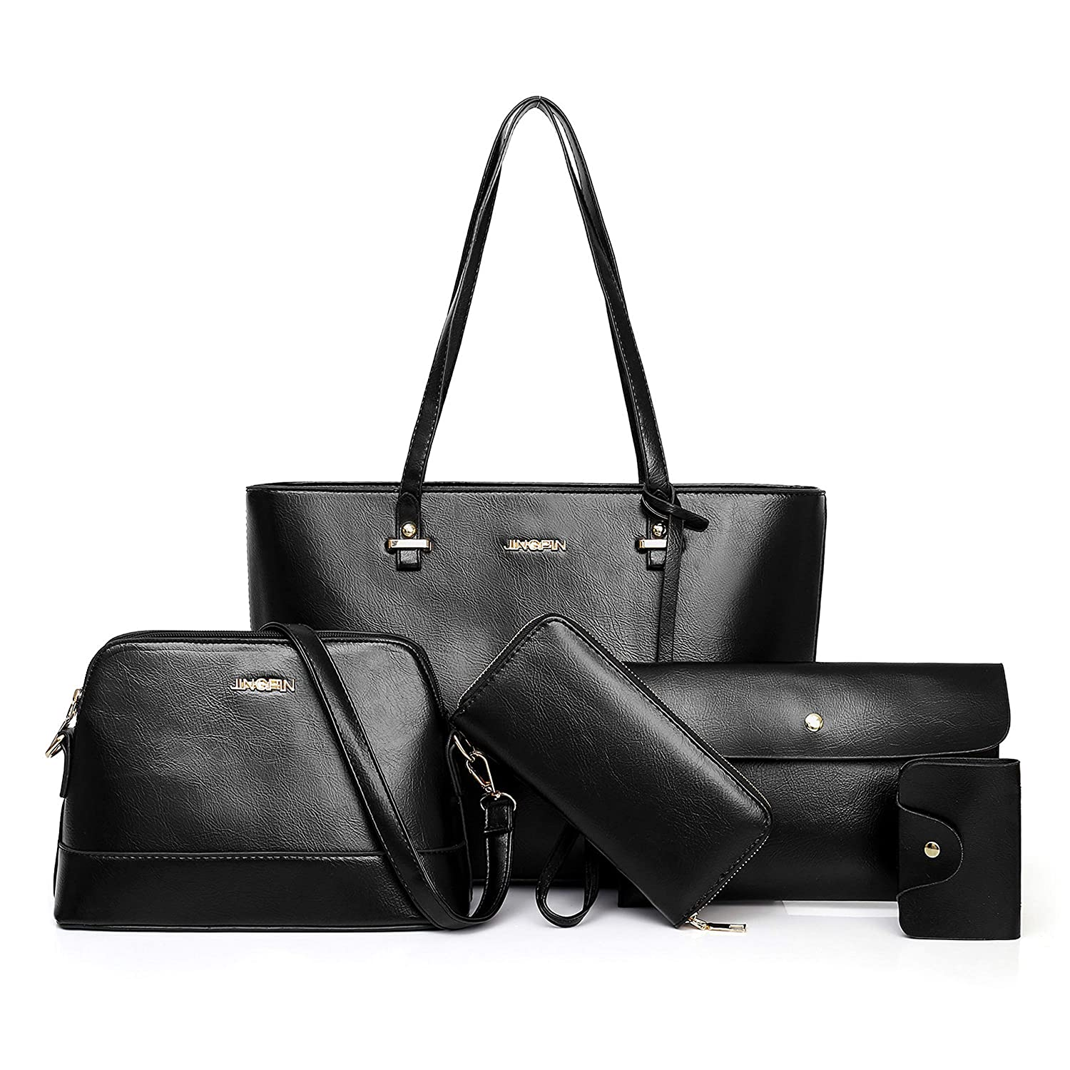 Women Handbag and Purse Shoulder Bag Tote Bag for Work 5 Piece Set Bag  (5pcs-black)  Handbags  Amazon.com d586ff9767