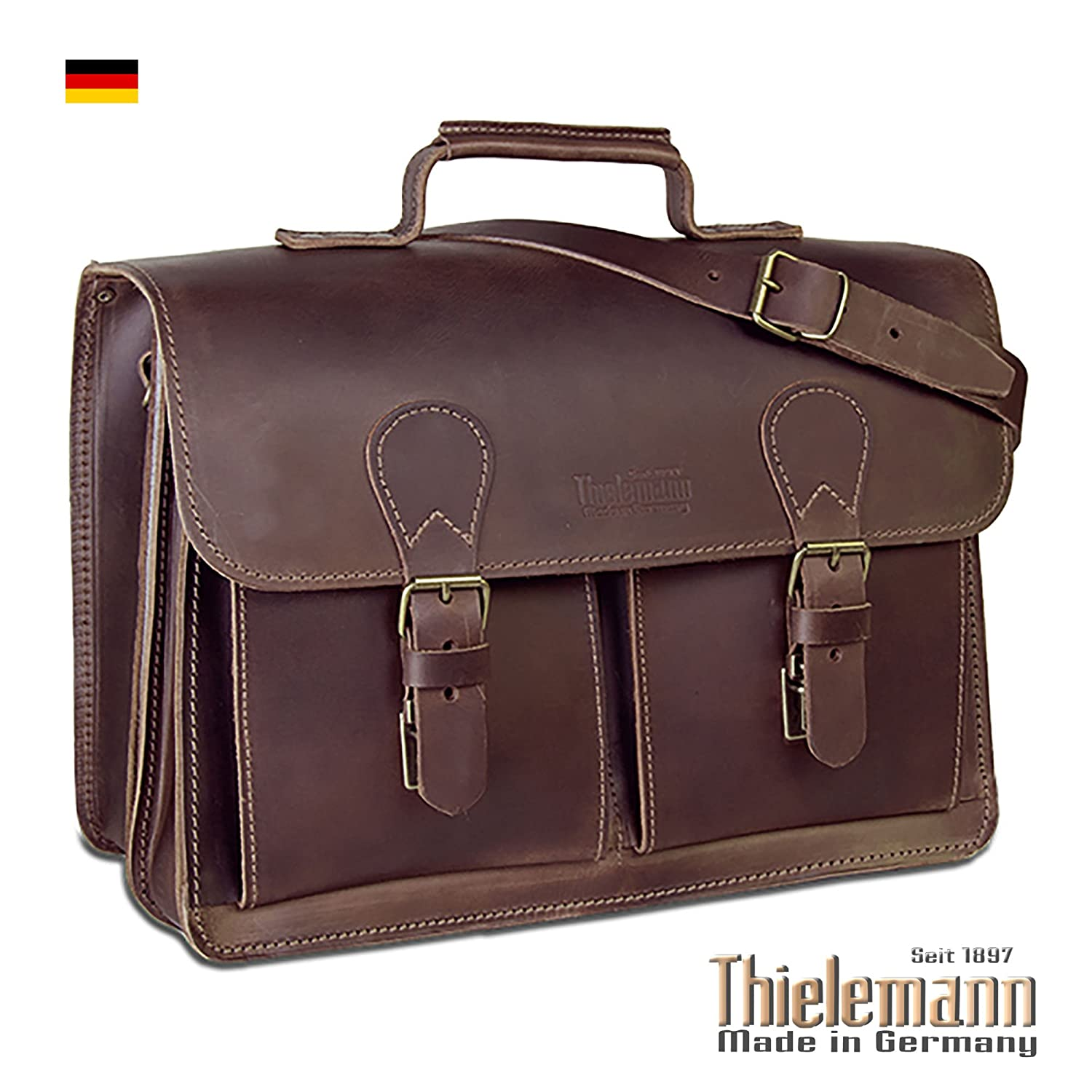 Thielemann Briefcase Messenger Laptop Bag Brown Full Grain Leather Made in Germany 10 Year Warranty