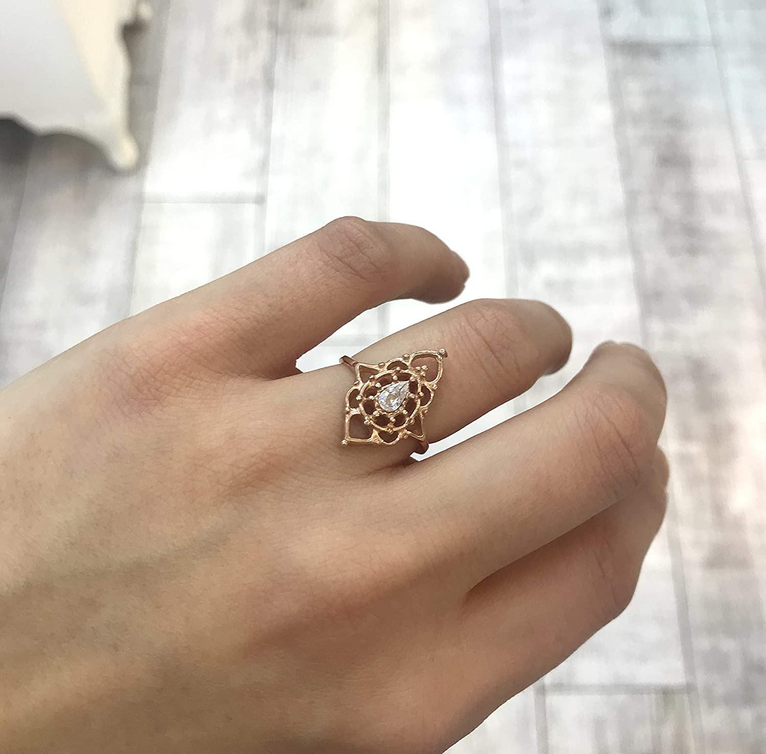 lycia jewelry Statement Ring Cubic Zirconia Gemstone 925 Silver 14K Rose Gold Plated Adjustable