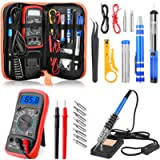 ETEPON Portable Soldering Iron Kit Adjustable Temperature with ON/Off Switch, Digital Multimeter, Soldering Stand…
