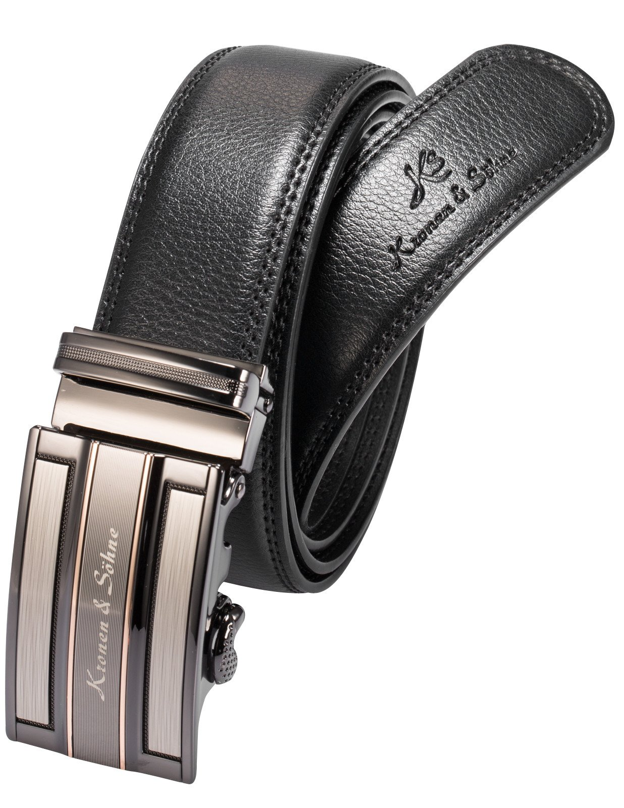 KS Mens Leather Belt, Black Auto Stainless Steel Buckle Lock Dress Suit Waist Genuine Leather Belt, Wedding Groom Gift
