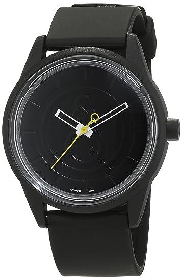 Q&Q SmileSolar - Reloj de cuarzo unisex, con correa de resina, color negro