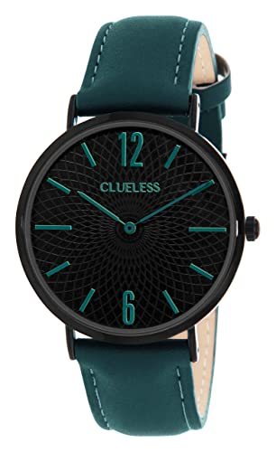 Lucardi–Clueless– Clueless-Uhr mit marineblauem Lederarmband für Damen - Edelstahl