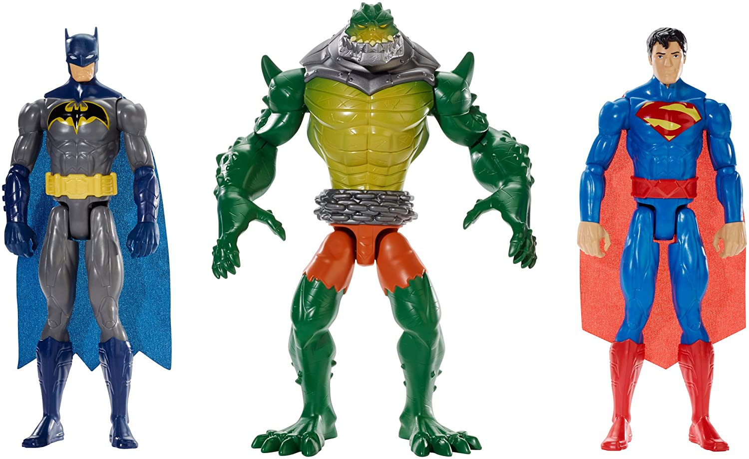 Batman Set di 3 action figure, Superman e Reptile Rage