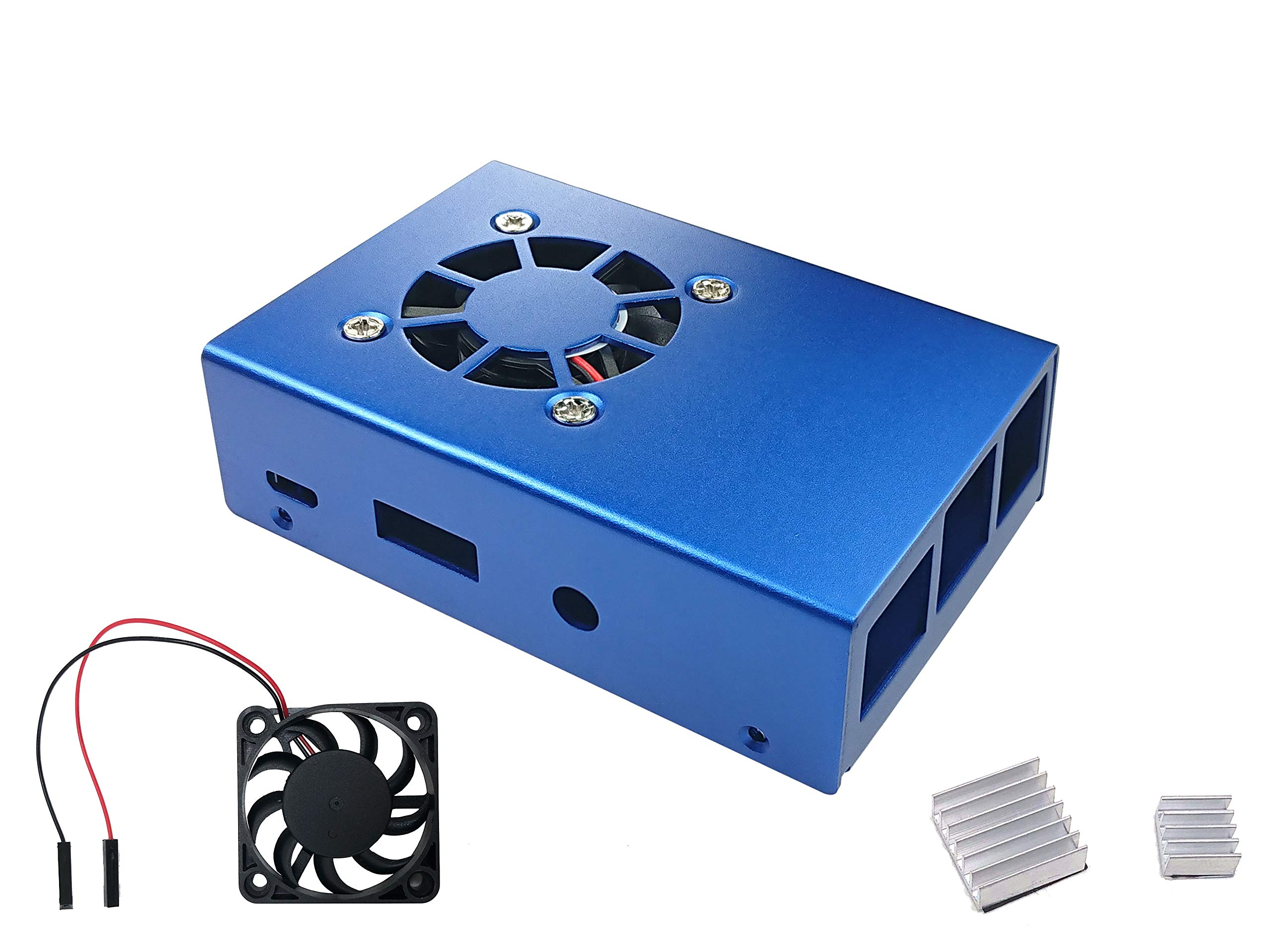 Micro Connectors Aluminum Raspberry Pi 3 Model B B+ Case with Fan and Heatsinks - Blue (RAS-PCS04-BL)