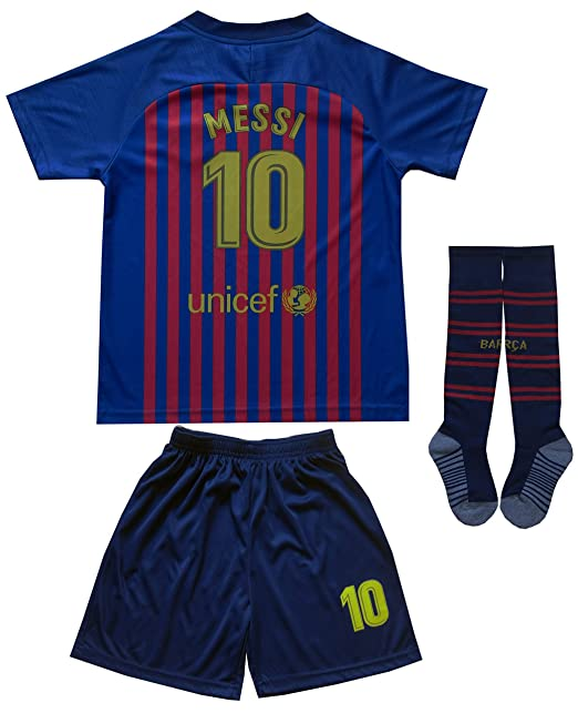 bd650fc32d5 Amazon.com  Da Games Youth Sportswear Barcelona Messi 10 Kids Home Soccer  Jersey Shorts Football Socks Set (12-13 YEARS OLD