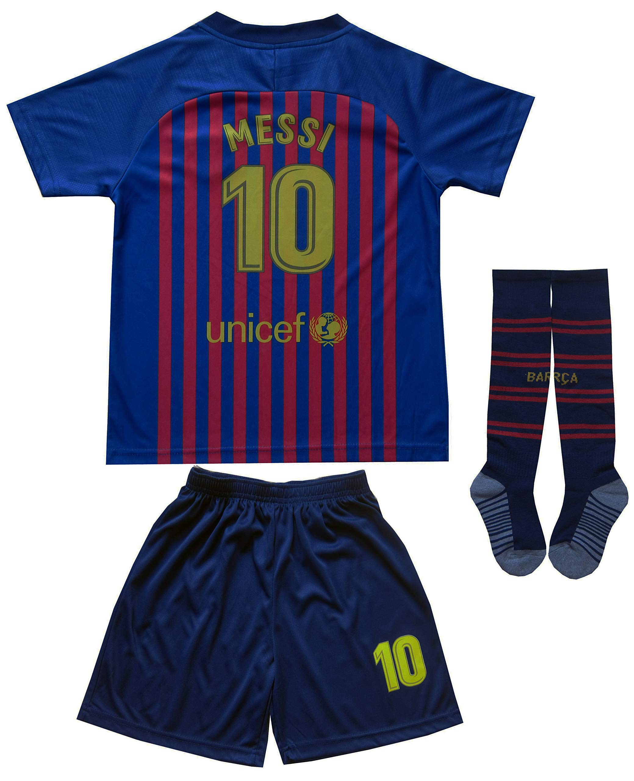 Da Games Youth Sportswear Barcelona Messi 10 Kids Home Soccer Jersey/Shorts Football Socks Set (12-13 YEARS OLD, Home)
